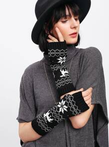 Elbow Length Knit Fingerless Gloves
