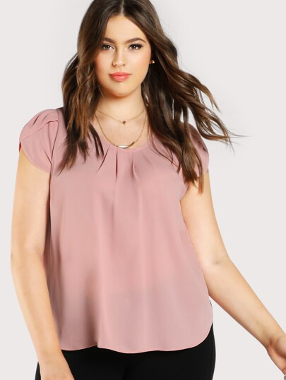 Tulip Sleeve Pleated Neck Top