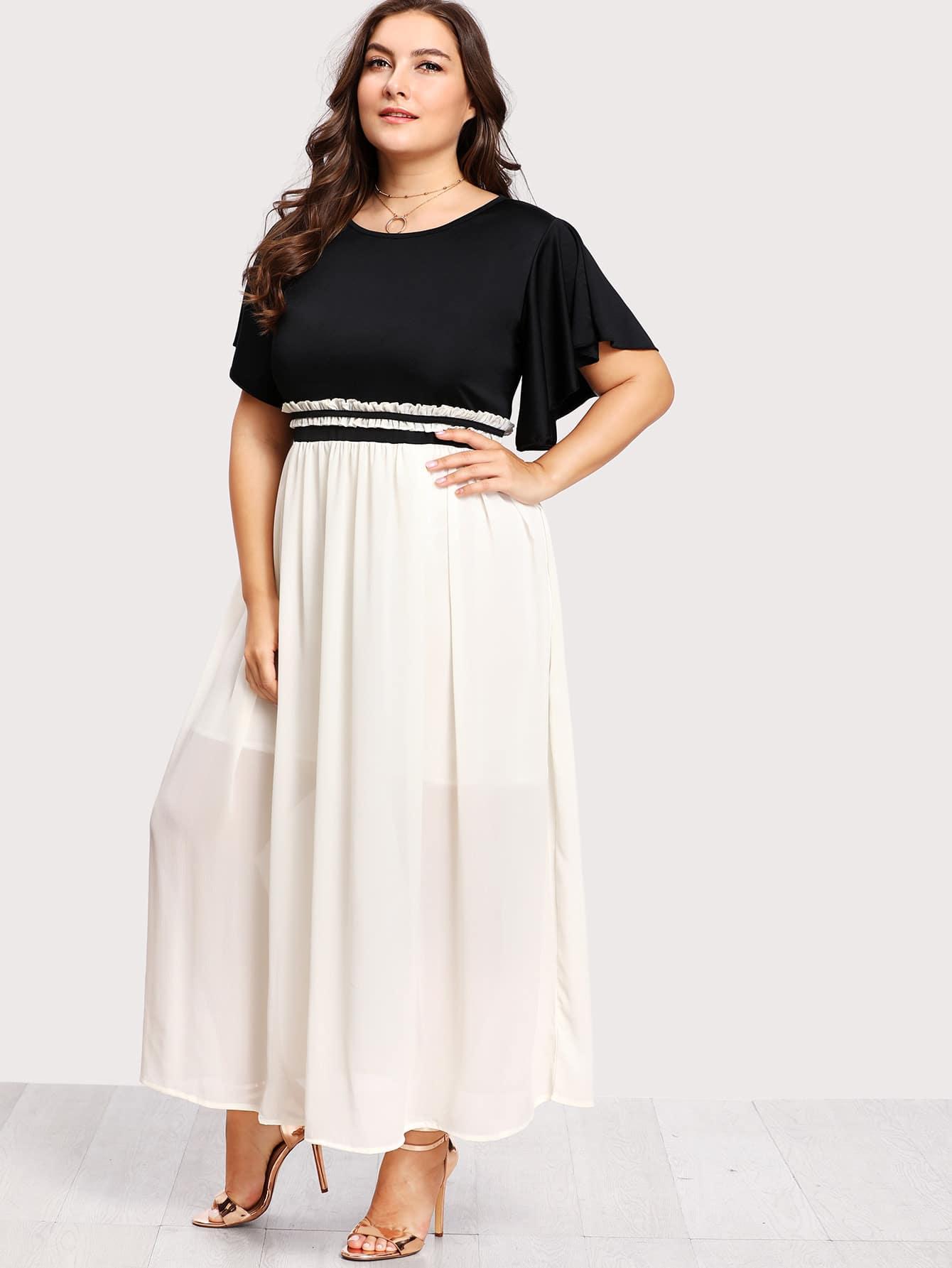 Flutter Sleeve Frilled Two Tone Dress two tone letter print full length dress