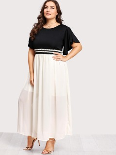 Plus Flutter Sleeve Frilled Two Tone Dress