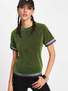 Striped Trim Glitter T-shirt