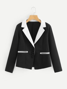 Contrast Collar Fitted Blazer