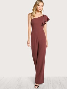 One Shoulder Ruffle Jumpsuit RED BROWN
