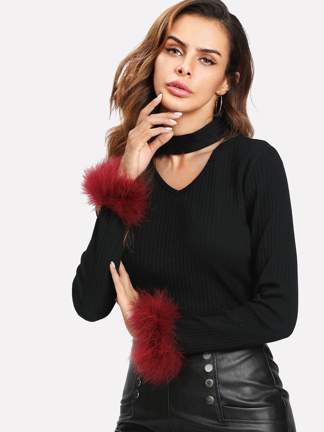 Contrast Faux Fur Cuff Choker Neck Ribbed Tee contrast faux fur cuff pullover