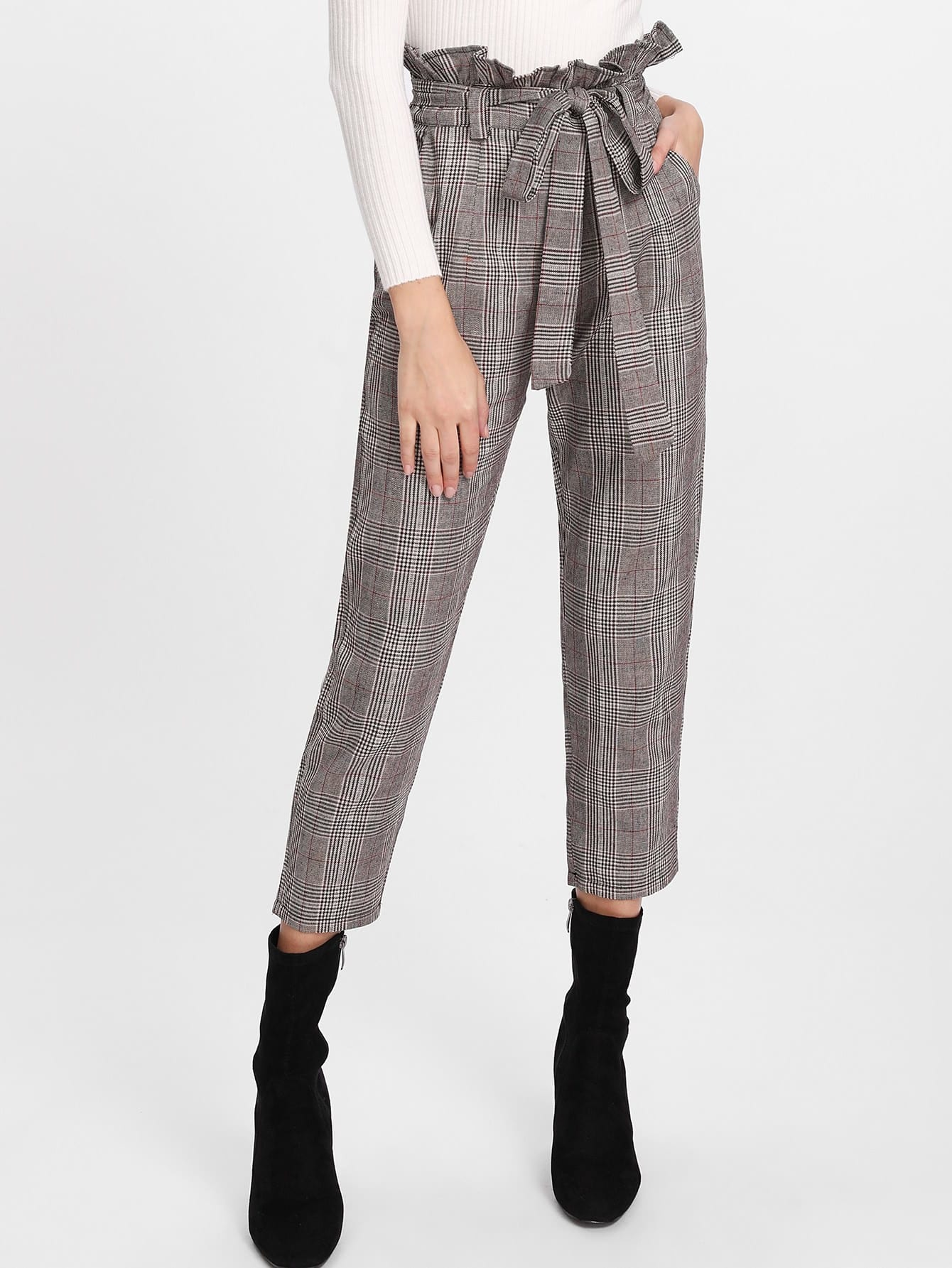 Glen Plaid Frill Waist Self Tie Capri Pants striped ruffled waist self tie pants