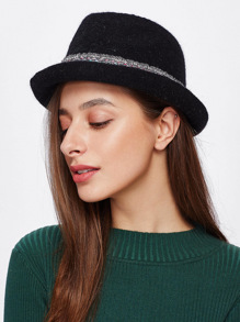 Woven Band Detail Fedora Hat