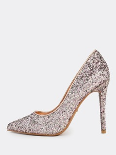Plain Point Toe Glitter Pump BLUSH
