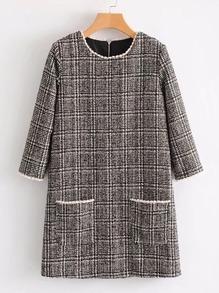 Contrast Trim Plaid Tweed Dress