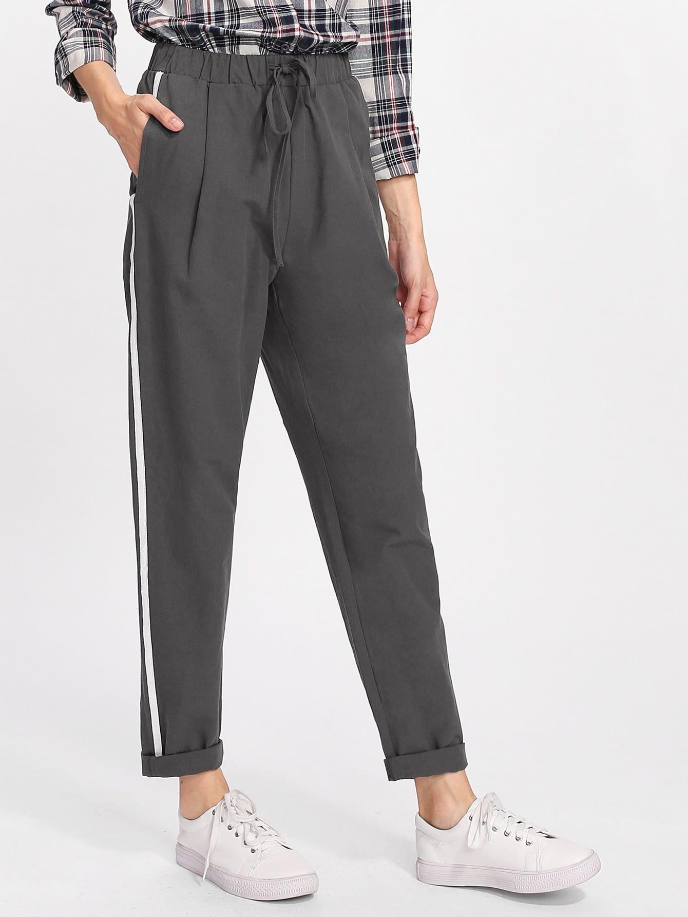 Drawstring Waist Striped Side Peg Pants ruffle waist belted peg pants