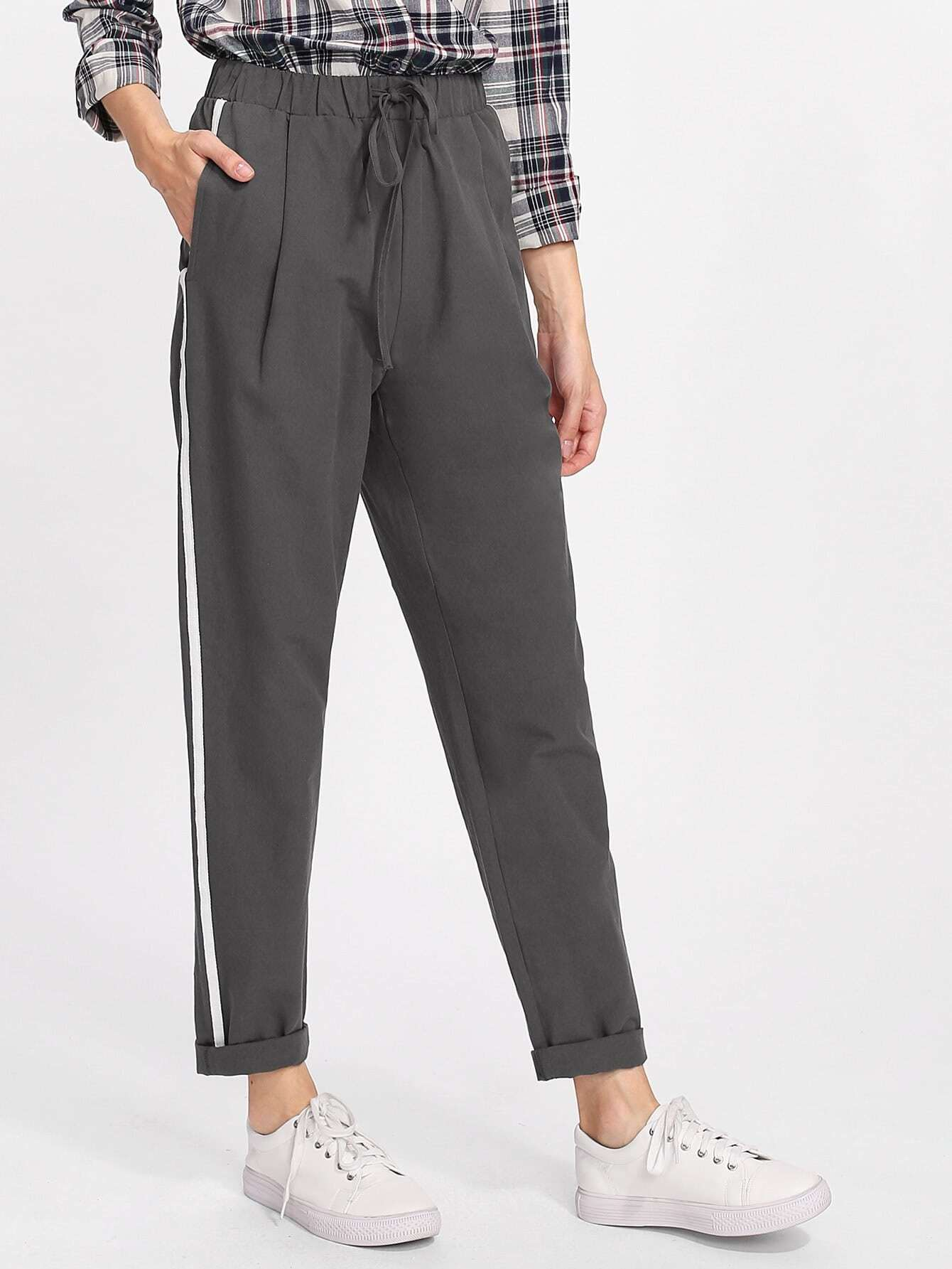 Drawstring Waist Striped Side Peg Pants drawstring waist high low striped kimono