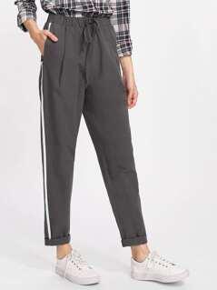 Drawstring Waist Striped Side Peg Pants