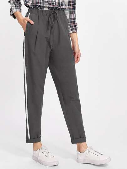 Drawstring Waist Striped Side Peg Pants