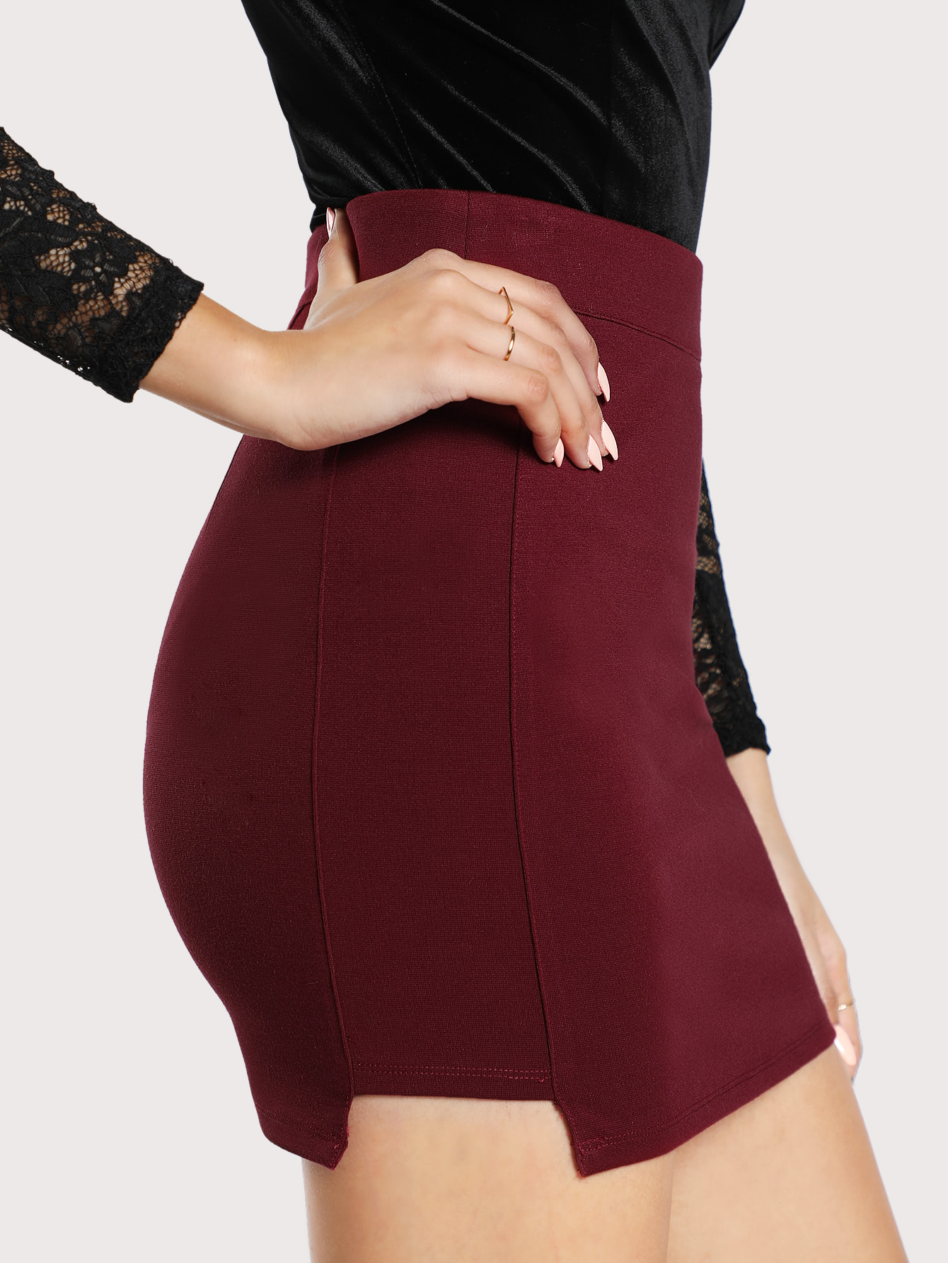 Solid Knit Bodycon Skirt solid ruched knit skirt