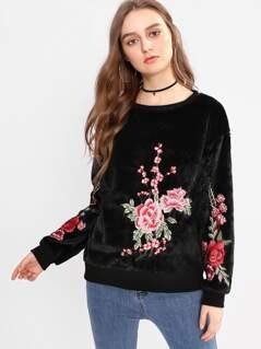 Embroidered Flower Applique Fuzzy Sweatshirt