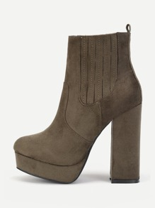 Block Heeled Round Toe Ankle Boots