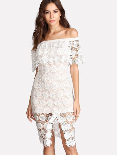 Layered Off The Shoulder Lace Overlay Dress