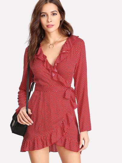 Flounce Trim Knotted Surplice Dress