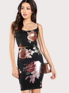 Metallic Floral Print Crop Top & Matching Skirt BLACK
