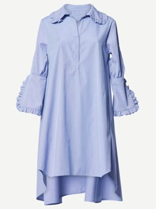 Frill Trim Dip Hem Shirt Dress