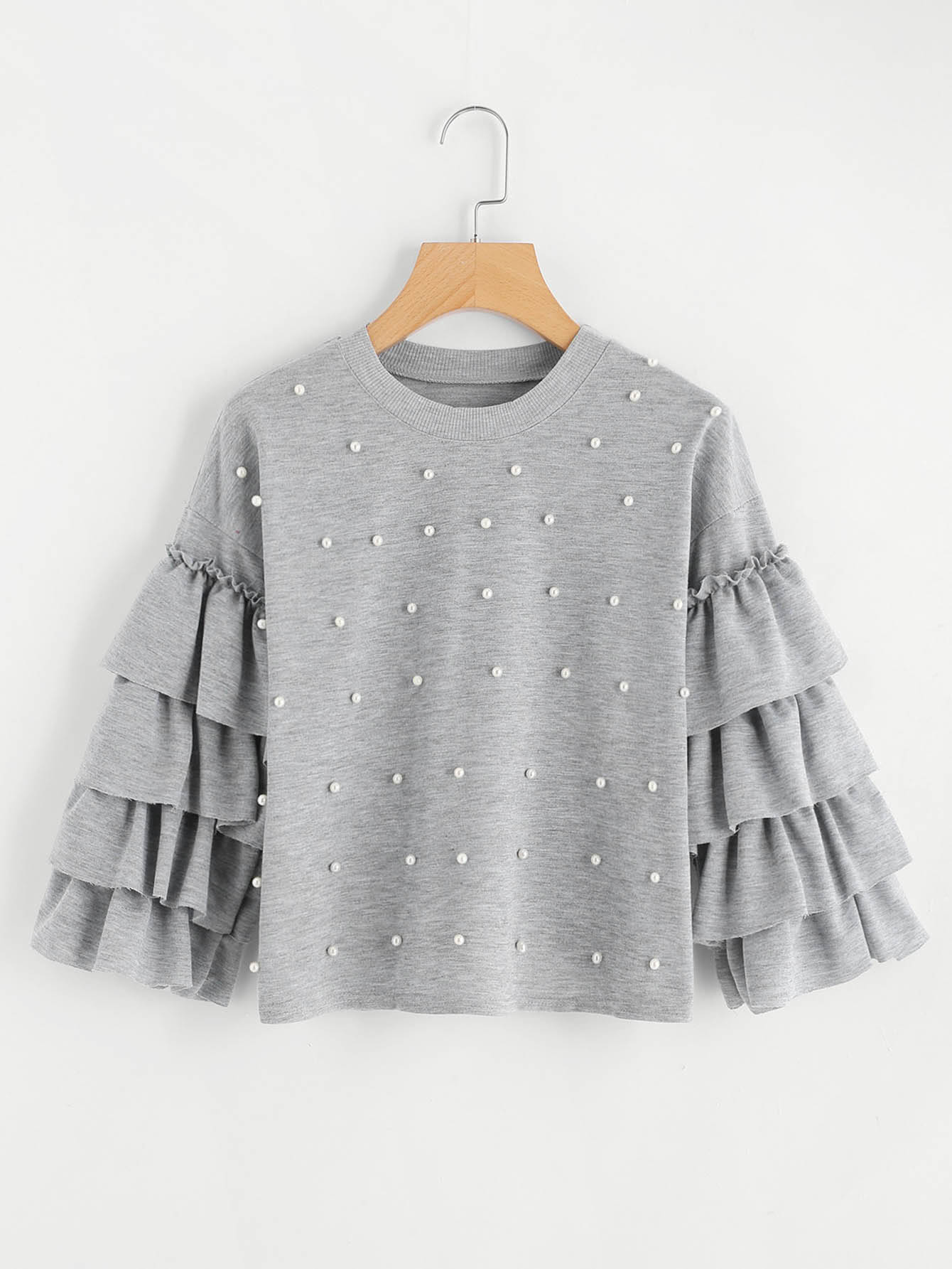 Tiered Fluted Sleeve Pearl Beaded Sweatshirt v notch pearl leaf chain detail fluted sleeve dress
