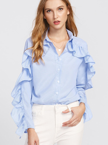Frill Trim Pinstriped Shirt