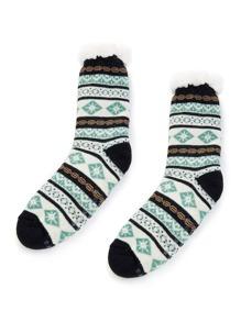 Geometric Pattern Fuzzy Lining Socks