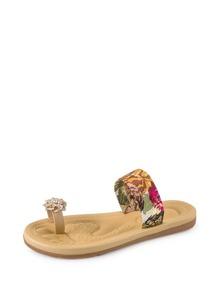 Rhinestone Flower Toe Ring Flat Sandals