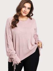 Lace Up Sleeve Oversized Sweater