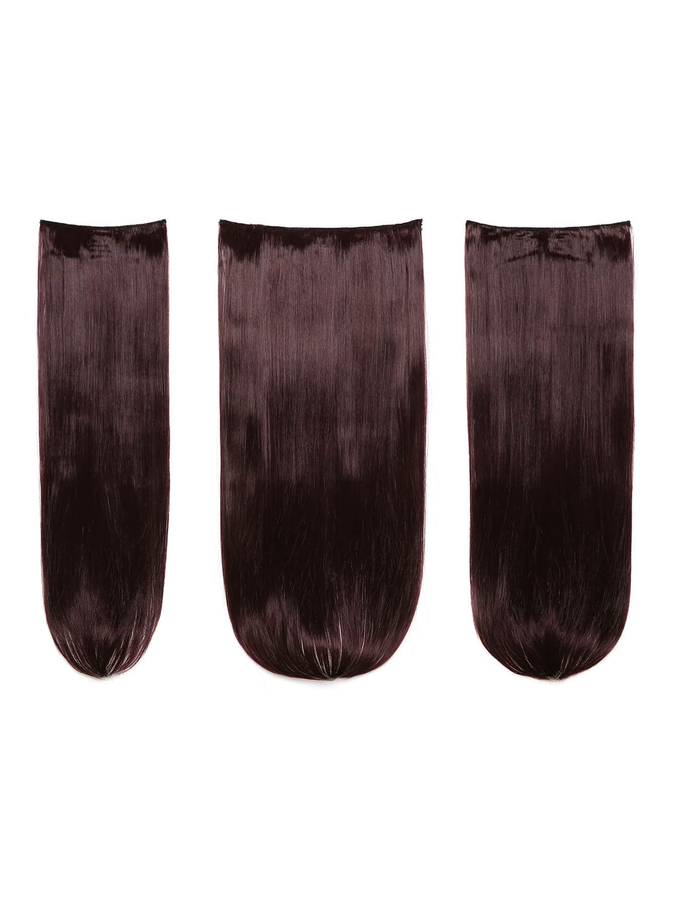 Plum Clip In Straight Hair Extension 3pcs