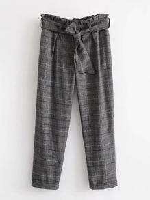 Pantalons taille ruchée à carreaux avec ceinture