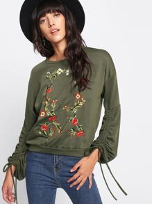 Drawstring Sleeve Botanical Embroidered Pullover