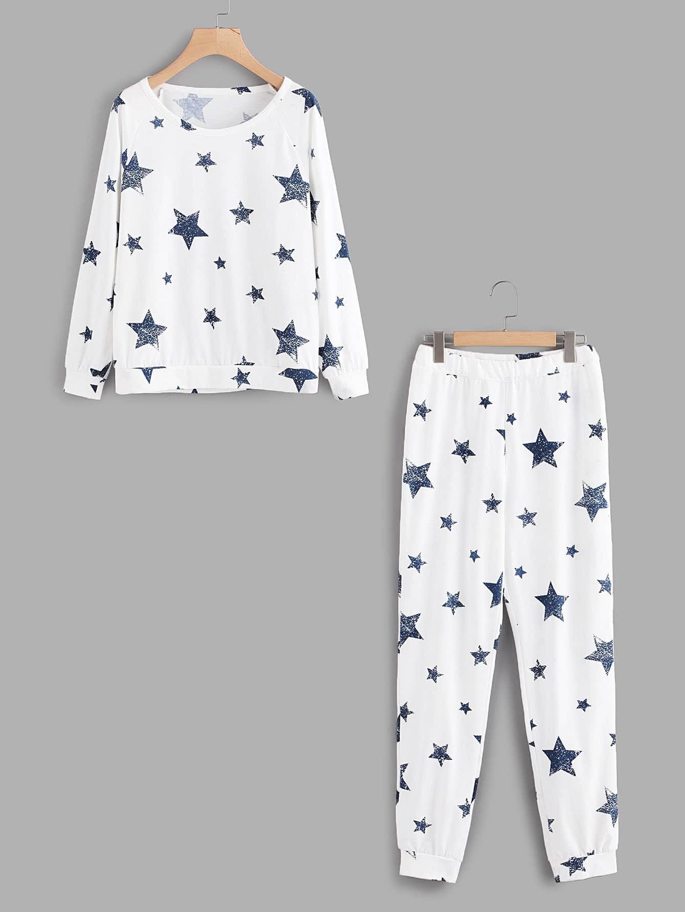 Stars Print Raglan Pullover & Pants Pj Set rabbit print pullover