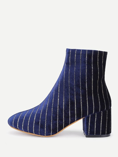 Vertical Striped Design Velvet Ankle Boots