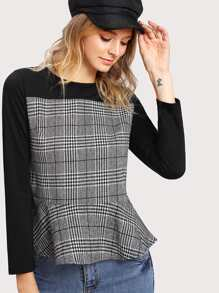 Contrast Panel Glen Plaid Pep Hem Blouse