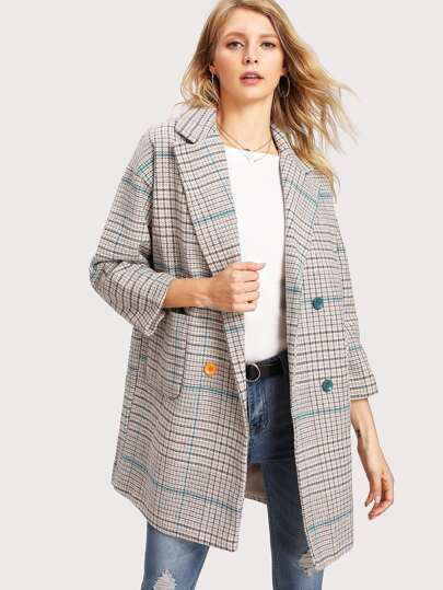 Checkered Houndstooth Tweed Coat