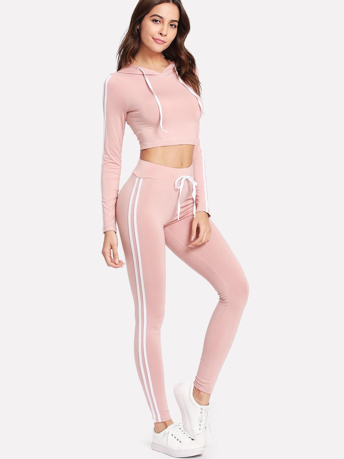 Купить Модный спортивный комплект с капюшоном, Giulia, SheIn