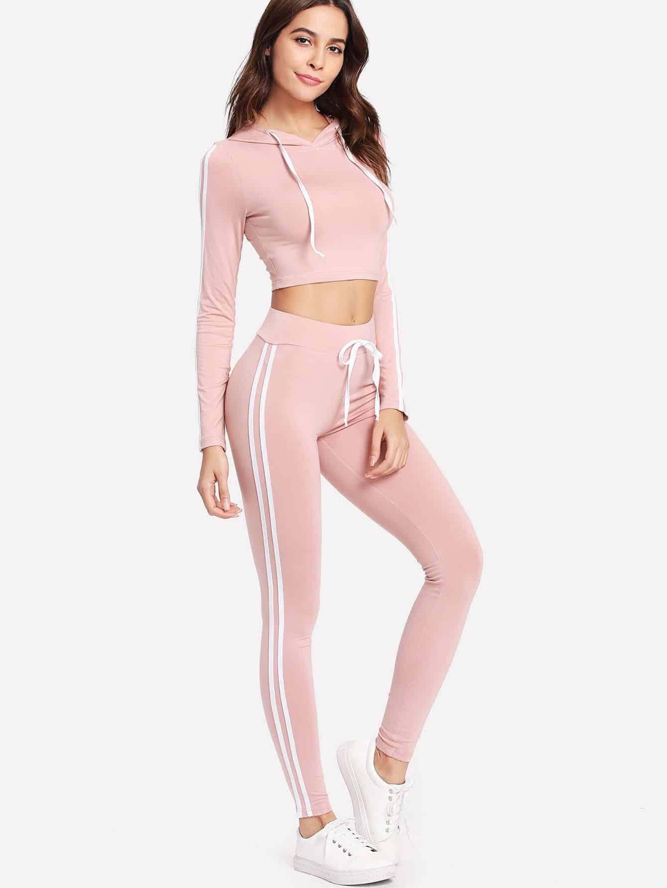 Striped Side Crop Hoodie With Sweatpants Set