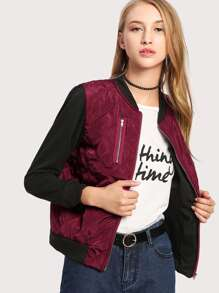 Contrast Sleeve Quilted Jacket