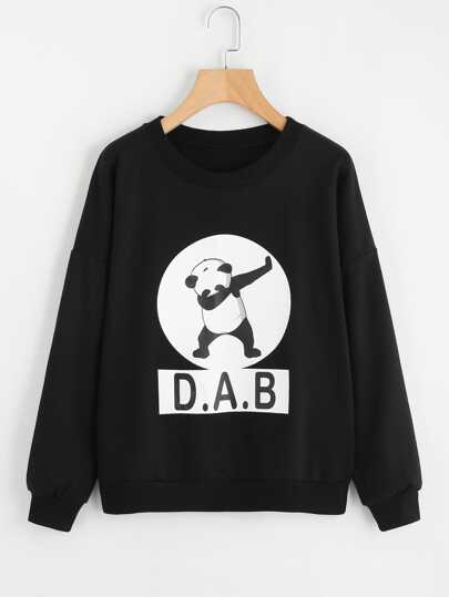 Drop Shoulder Panda Print Sweatshirt