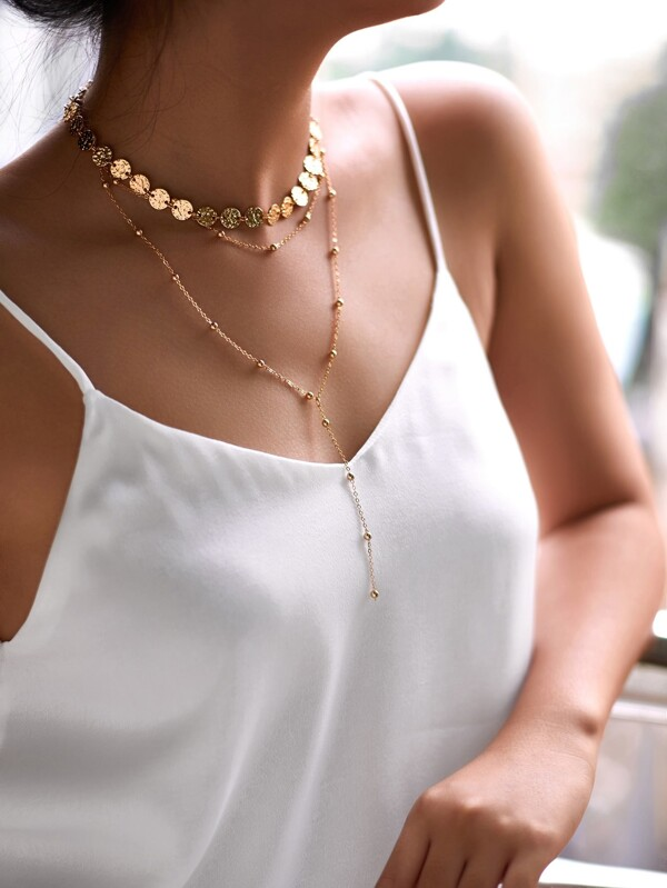 Sequin & Beaded Layered Chain Necklace by Sheinside