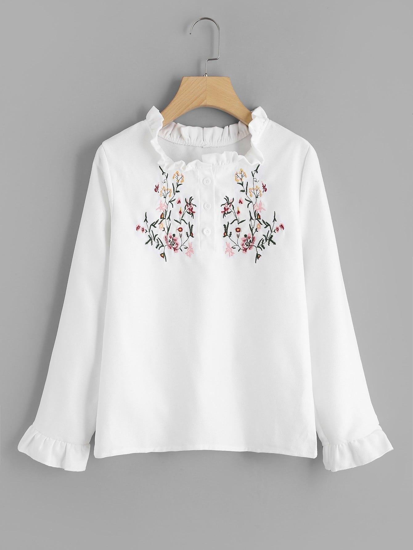 Half Placket Frilled Embroidered Blouse twist front half placket drop shoulder blouse