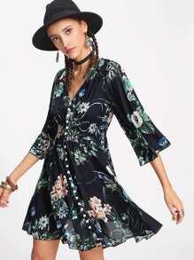 Trumpet Sleeve Tassel Button Front Dress