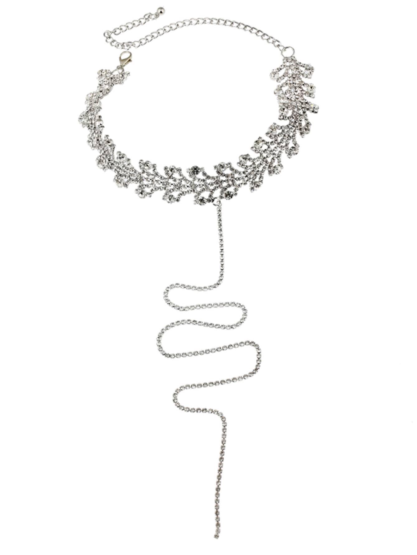 Rhinestone Y Choker Necklace