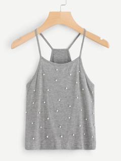 Pearl Beading Rib Knit Cami Top