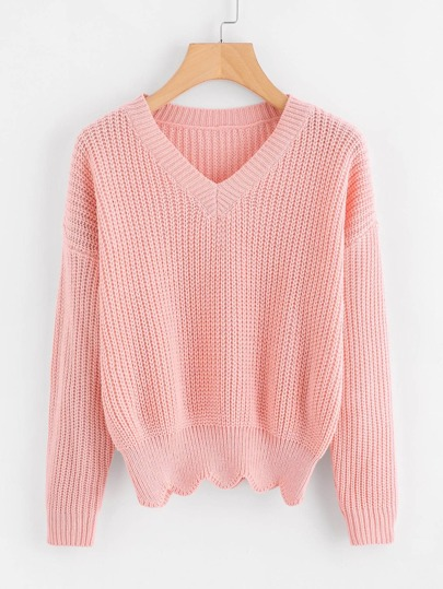V Neckline Scallop Hem Sweater