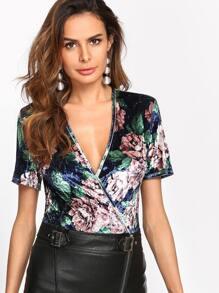 Plunging Overlap Front Floral Velvet Bodysuit