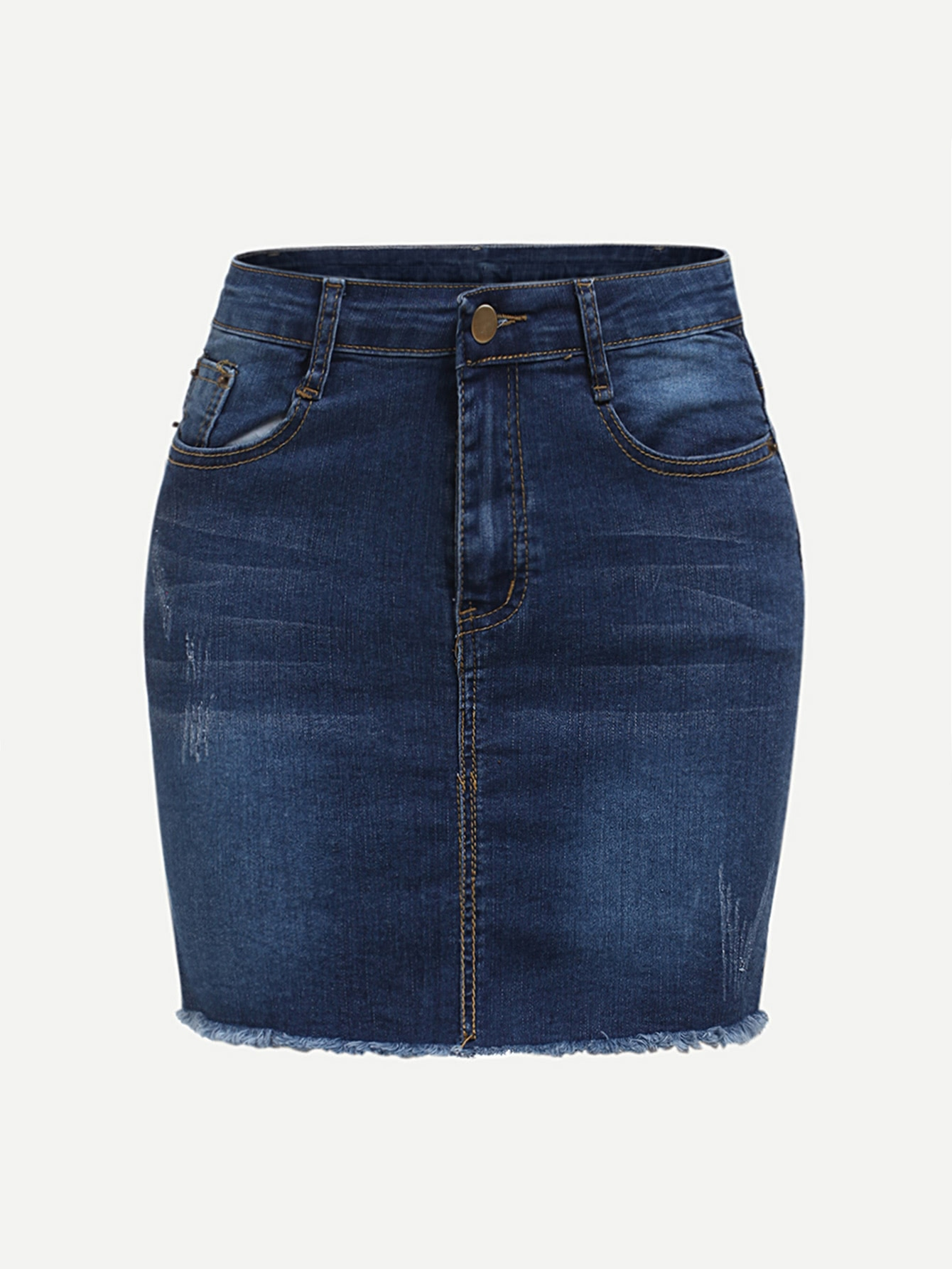 Raw Hem Denim Skirt girls single breasted raw hem skirt