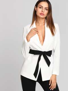 Notch Collar Blazer With Contrast Belt