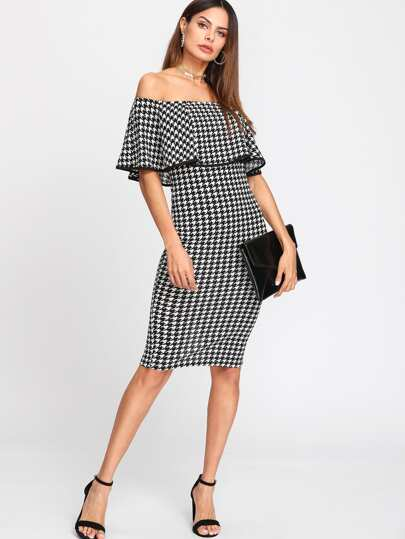 Flounce Layered Neck Houndstooth Dress