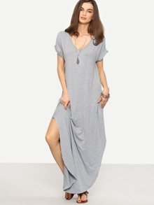 Heather Knit Rolled-cuff Pockets Side Split Dress